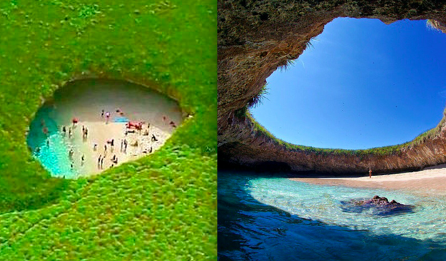 This godly white sand paradise is actually made from a gaping hole in the island's surface.