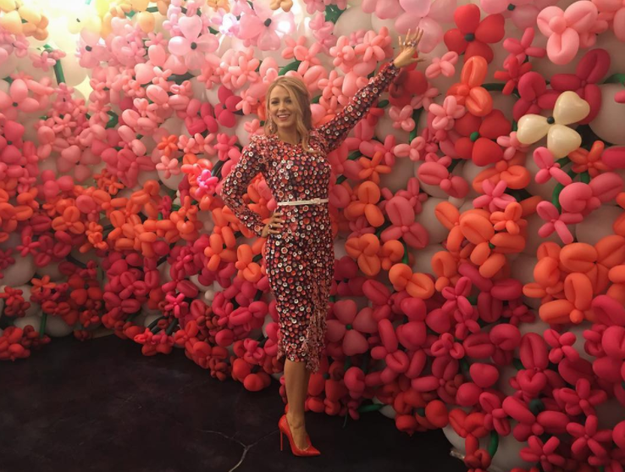 Blake Lively was in a sea of pinks.