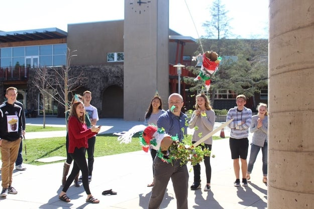 """Also, Endermann did end up attending the party with his class and it was """"a lot of fun,"""" according to Mendoza. Here he is crushing his kale-filled piñata."""