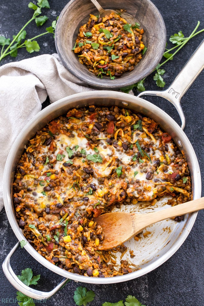 Cheesy Mexican Lentils with Black Beans + Rice