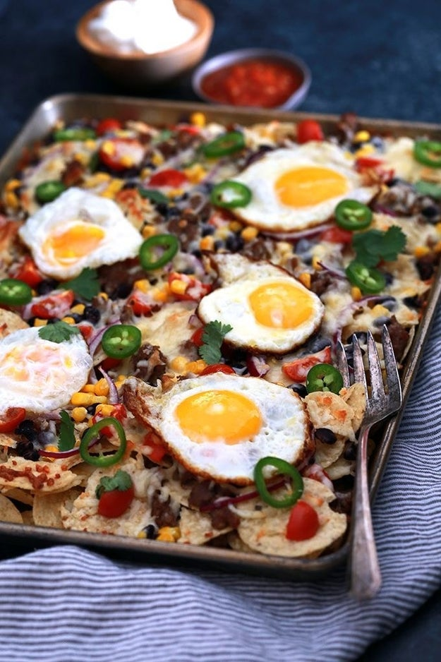 Sheet Pan Nachos with Black Beans + Fried Eggs