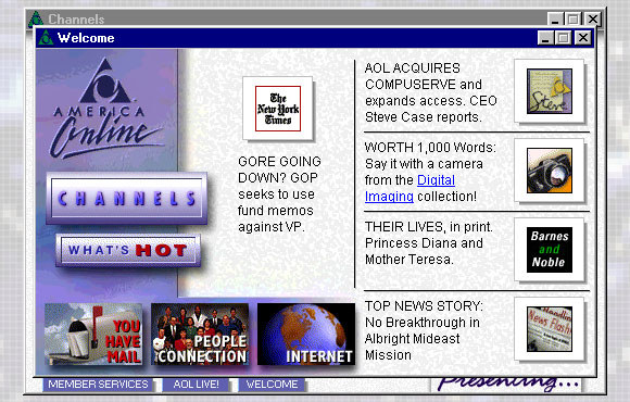 Setting up your very first AOL email address, which you checked every few days.