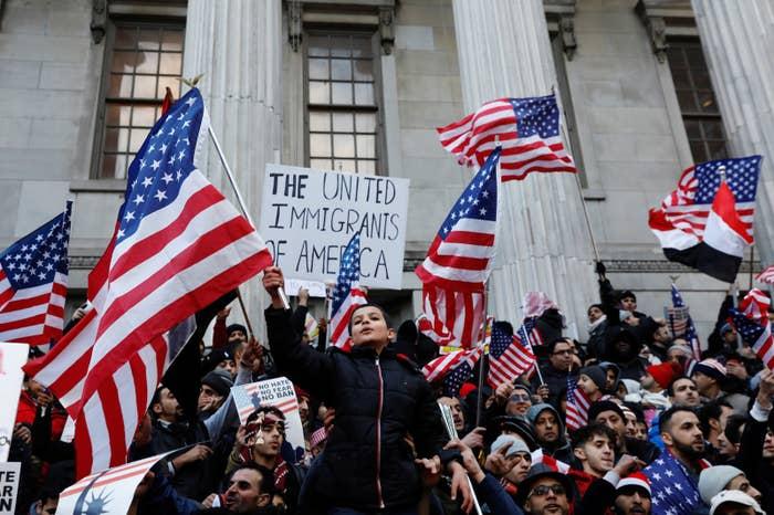 Demonstrators protest Trump's travel ban in Brooklyn on Feb. 2.