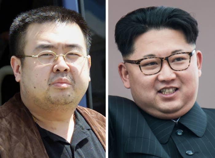 Kim Jong Nam (left) and North Korean leader Kim Jong Un (right).