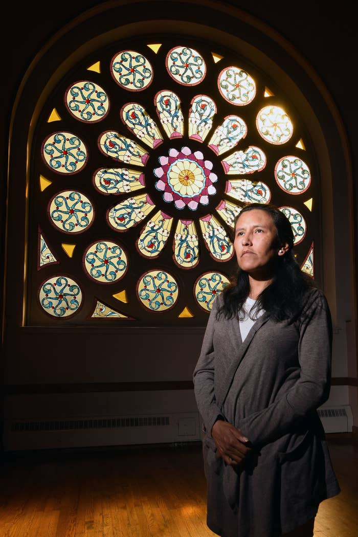 Jeanette Vizguerra, an undocumented mother of four, poses in the First Unitarian Society Church of Denver on Feb. 16.