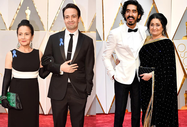 Both Dev Patel and Lin-Manuel Miranda showed up with their moms on their arms and walked the red carpet with them.