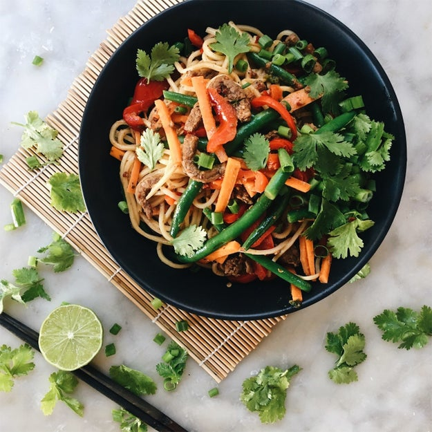 Thai Red Curry Beef Stir Fry Noodles