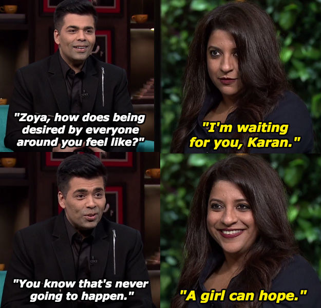 When Zoya tried seducing Karan.