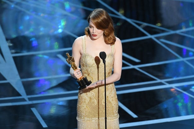 Earlier tonight, Emma Stone won the Oscar for Best Actress for her work in La La Land — the penultimate award given during the evening.