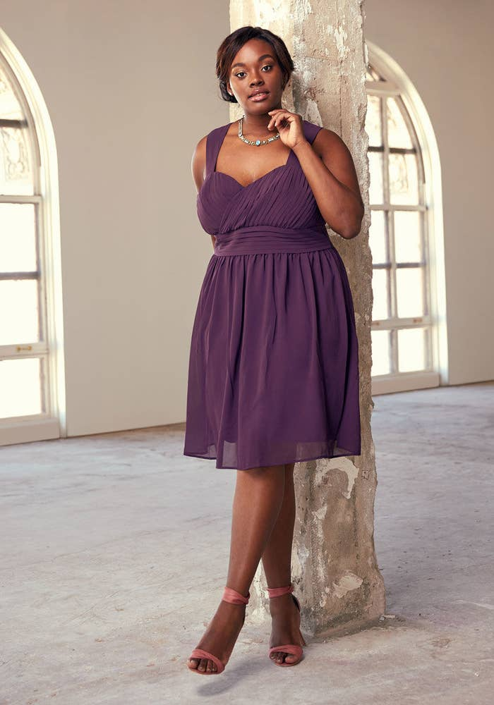 """Promising review: """"Love this A-line dress! Creates a nice silhouette for my pear-shaped body. Knee length, so not too short. Very comfortable, and very nice material. Runs true to size, at least in my experience. If you're between sizes, you're better off ordering up, since the top is fitted, and does not lend any extra room. Great for weddings, which is what I purchased for, or going out to town. Very pleased with this product!"""" —AnonymousGet it from ModCloth for $37.99+ (down from $100). / Available in sizes 2XS-4X, three colors."""