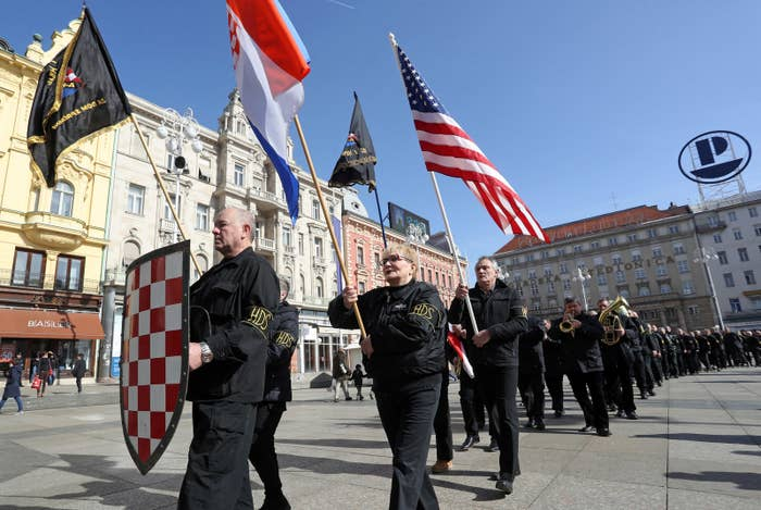 The few dozen black-clad demonstrators were members of the small Indigenous Croatian Party of Rights (A-HSP), a far-right political group that is too small to be represented in Croatia's parliament. But they definitely know how to grab people's attention, as Sunday's gathering in Zagreb, the country's capital, showed.