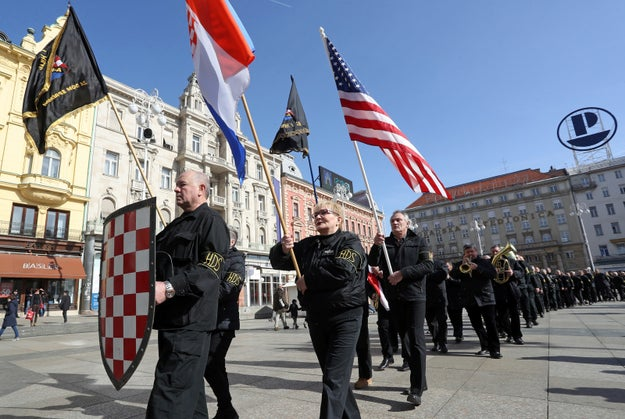 "Today in ""things that aren't great,"" a small group of far-right protesters in Croatia carried the US flag while shouting pro-Nazi slogans and pledged support to President Donald Trump."