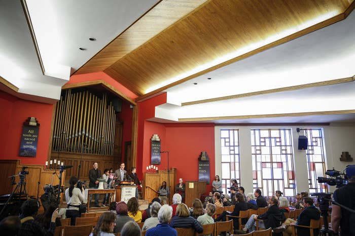 Hans Meyer addresses supporters and the media Feb. 15 as an undocumented immigrant seeks sanctuary at First Unitarian Church in Denver, Colorado.