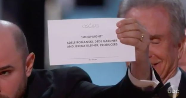 La La Land producer Jordan Horowitz held up the card, correctly showing there had been a mistake and Moonlight was the actual winner.
