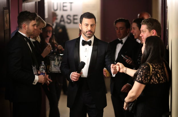 Jimmy Kimmel before stepping on stage as the host of the 2017 Oscars.