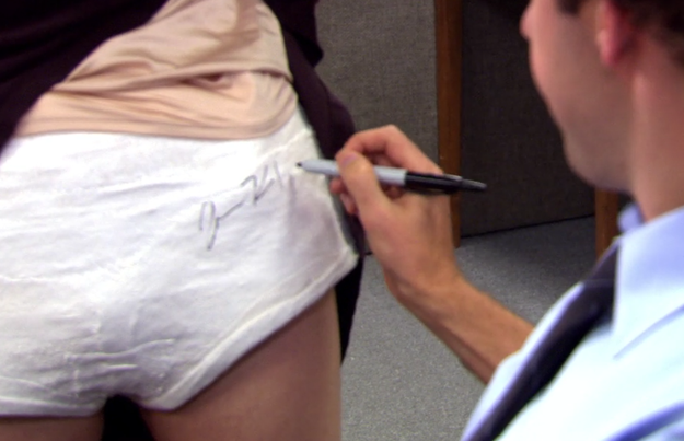 "When Jim signs Meredith's cast, it looks like he signs ""John Krasinski"" and not ""Jim Halpert."""