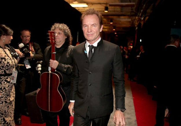 """Sting, who performed his Oscar-nominated song """"The Empty Chair"""" from Jim: The James Foley Story."""