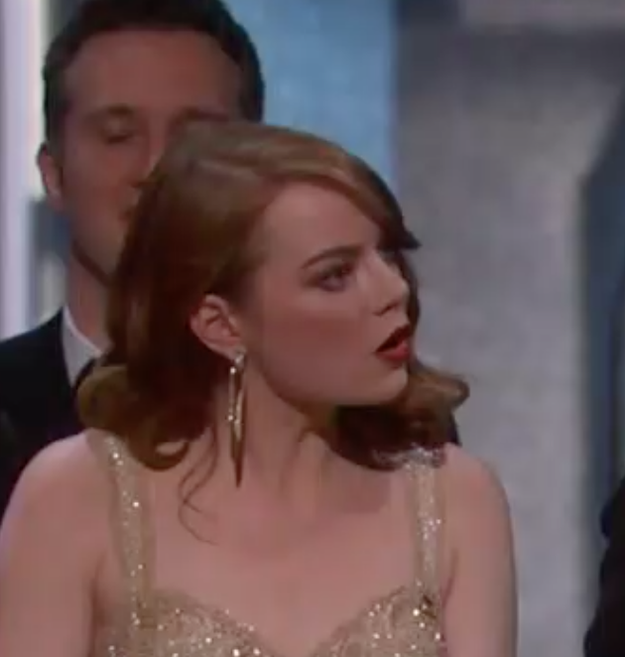 First there were the people on stage who thought they won. This was Emma Stone: