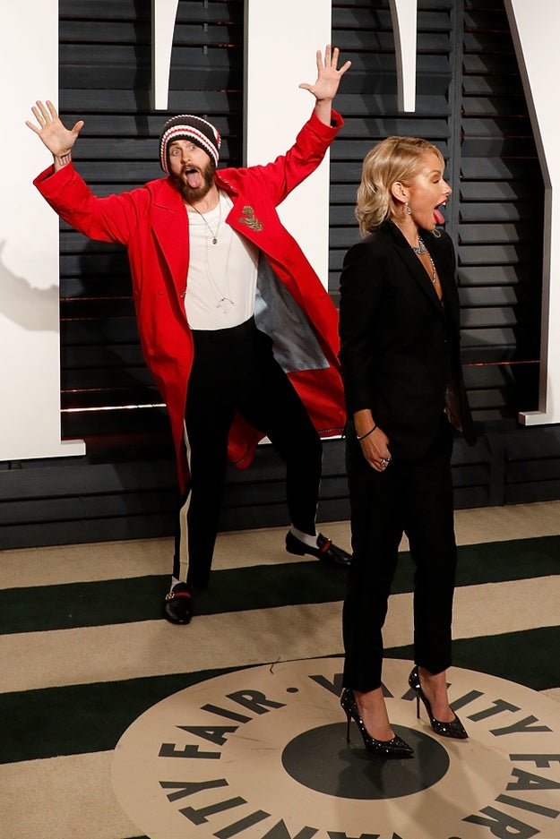 And this year, Kelly Ripa was the latest celebrity to fall victim to Jared's flailing body in the background of their photo: