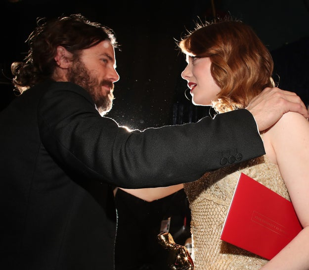 Best Actor Casey Affleck and Best Actress Emma Stone after their respective wins.