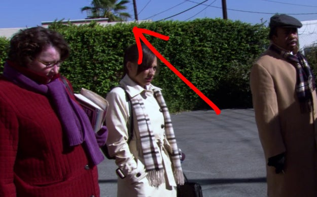 "In ""Traveling Salesmen,"" when the camera zooms out, you can see a palm tree from the show's filming location in California."