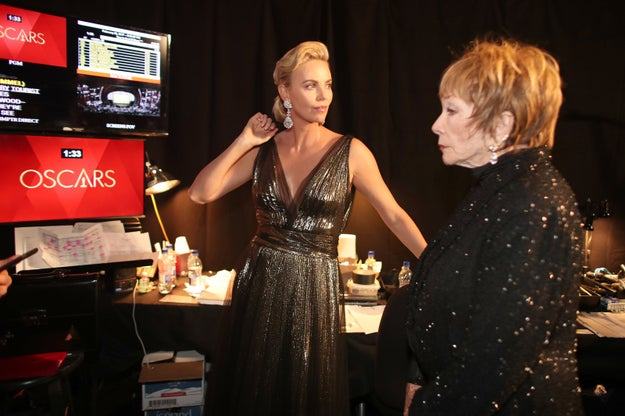Charlize Theron and Shirley MacLaine preparing before presenting Best Foreign Language Film.