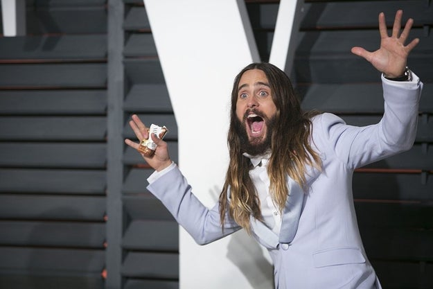 For the past three years, Jared Leto has crashed various celeb's red carpet photos at the Vanity Fair after-party with this specific photobombing pose:
