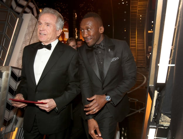 Warren Beatty and Mahershala Ali after the Best Picture win reversal.