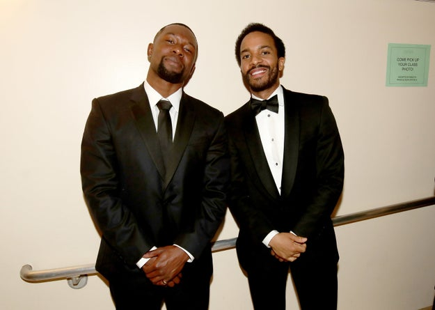 Trevante Rhodes and Andre Holland, the adult Chiron and Kevin in Moonlight respectively, also looking dapper AF.