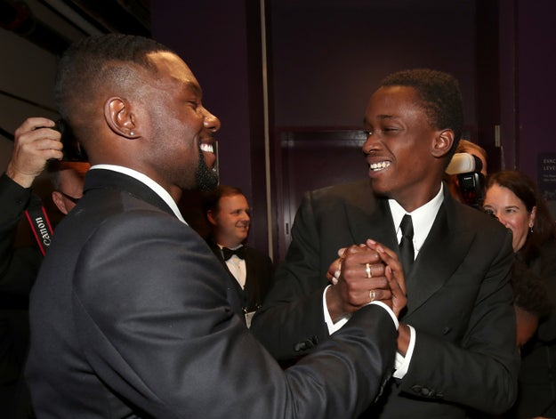 Trevante Rhodes and Ashton Sanders, who both play Chiron at different points in his life in Moonlight, sharing a joyous moment.