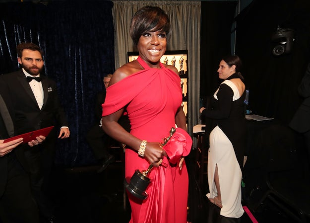 Viola Davis looking radiant after winning her first Oscar.