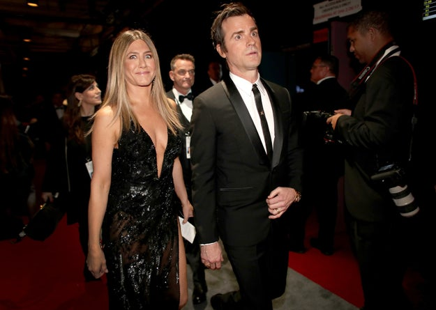 Jennifer Aniston and Justin Theroux, looking like all of us after the end of the show.