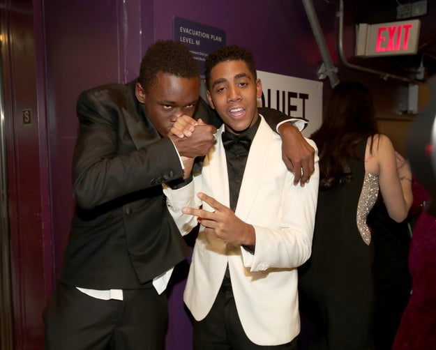 Ashton Sanders and Jharrel Jerome, who play teenage versions of Chiron and Kevin in Moonlight, celebrate.