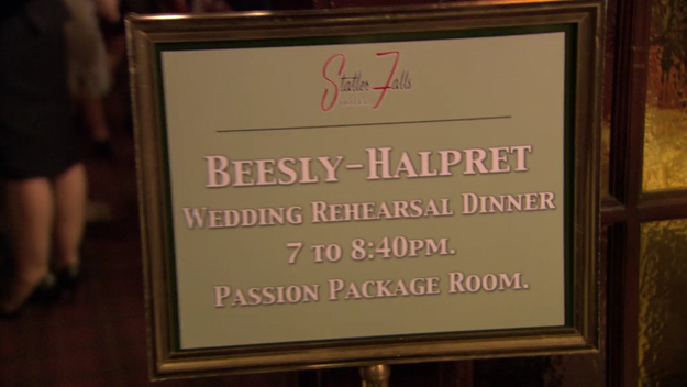 Jim's last name was spelled wrong on the sign for his and Pam's rehearsal dinner.