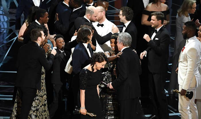 The commotion during the Best Picture speeches at the 89th Annual Academy Awards.