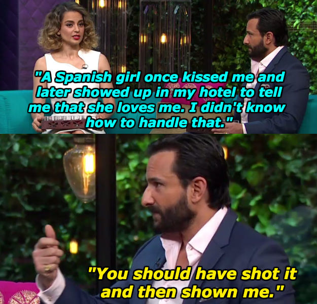 """Kangana Ranaut and Saif Ali Khan were last week's guests on Koffee With Karan. As part of the """"Koffee shots"""" game, Karan Johar asked both actors if they've ever experimented sexually with anyone from the opposite gender."""
