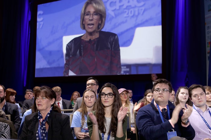 Education Secretary Betsy DeVos addresses the Conservative Political Action Conference in February 2017.