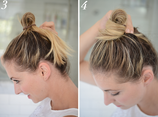 If you want to take your messy bun to the next level, wrap your hair around the base.