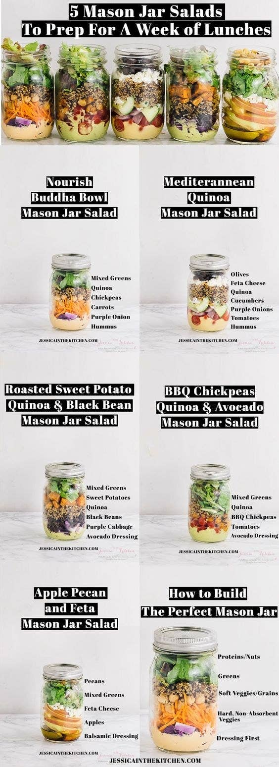 17 easy dinners that you can cook and eat for a whole week 7 skip the expensive salad bar and pack your greens into mason jars forumfinder Image collections