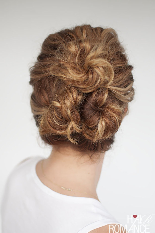 If a bun is your go-to last-minute look, try three all at once.