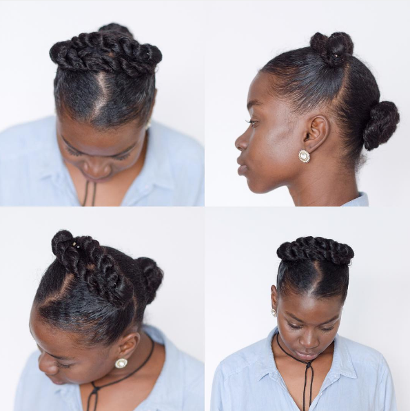 Turn 2-second pigtails into a pulled-back crown braid.