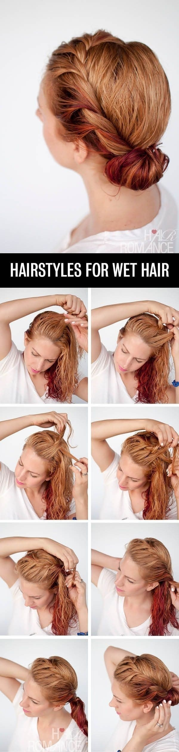 Running so late that your hair is still wet from the shower? Just crown braid or rope twist wet hair and roll it into a bun.