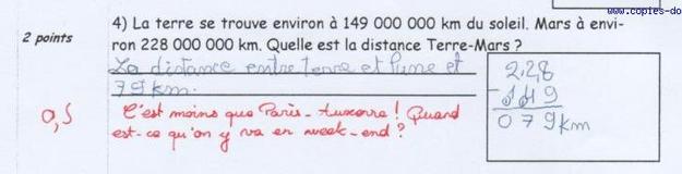 «La distance entre Terre et Lune et 79km.»