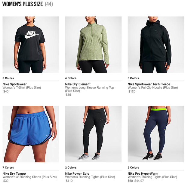 The plus-size collection extends to 44 items and includes running tops, tights, and training tanks.