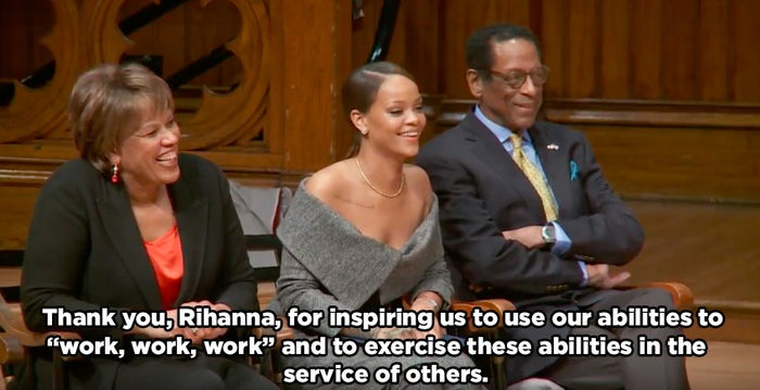 """Thank you, Rihanna, for inspiring us to use our abilities to 'work, work, work' and to exercise these abilities in the service of others."""