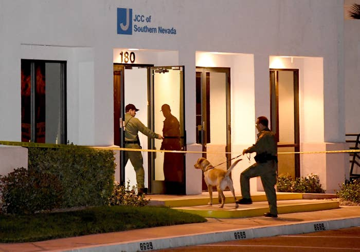 Las Vegas police search the Jewish Community Center of Southern Nevada, Feb. 27.