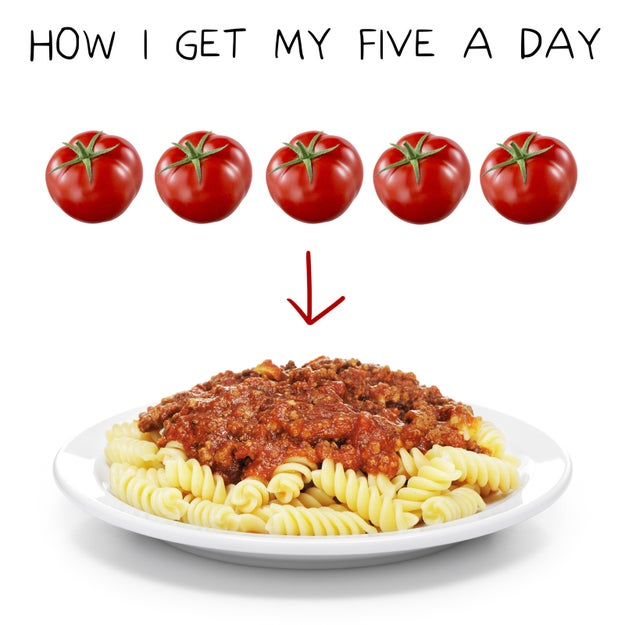 You also eat AT LEAST five tomatoes in your bolognese sauce.