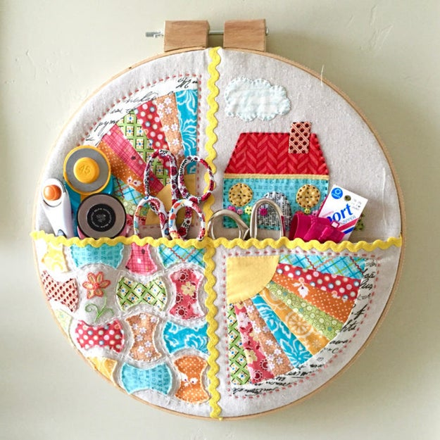Whip up a pocket hoop to hang your oft-used quilting tools near your work surface.