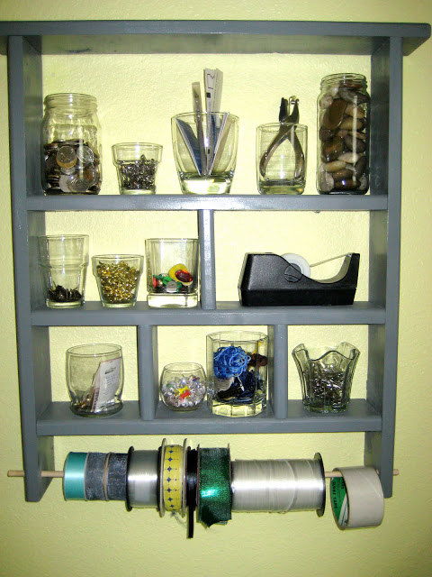 Transform a Goodwill find into a multitasking shelf -- with ribbon storage! -- with a coat of paint and a dowel rod.