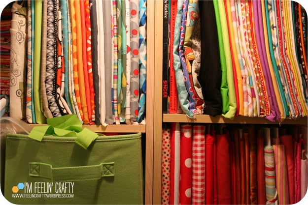 Shelve fabric like books so you can see what you're grabbing.